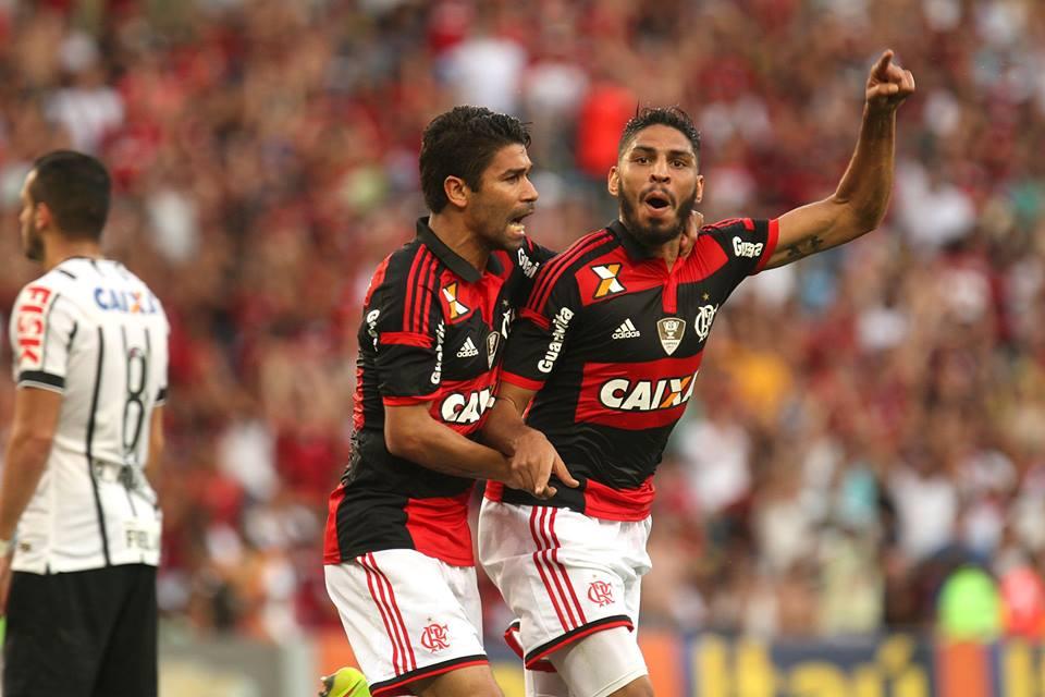 Wallace comemora o único gol marcado na partido Flamengo X Corinthians no Maracanã (Foto: Divulgação)