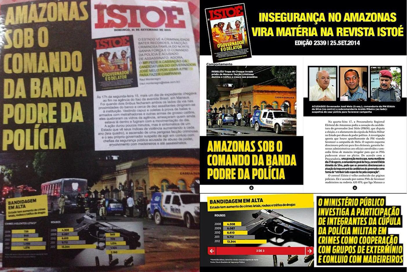 À esquerda o panfleto que estava sendo distribuído nas ruas e à direita, material divulgado na internet pela coligação de Eduardo Braga (Imagem: Reprodução)