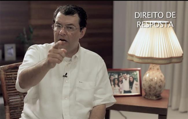 Eduardo Braga no vídeo gravado como resposta ao candidato adversário José Melo (Foto: Reprodução)