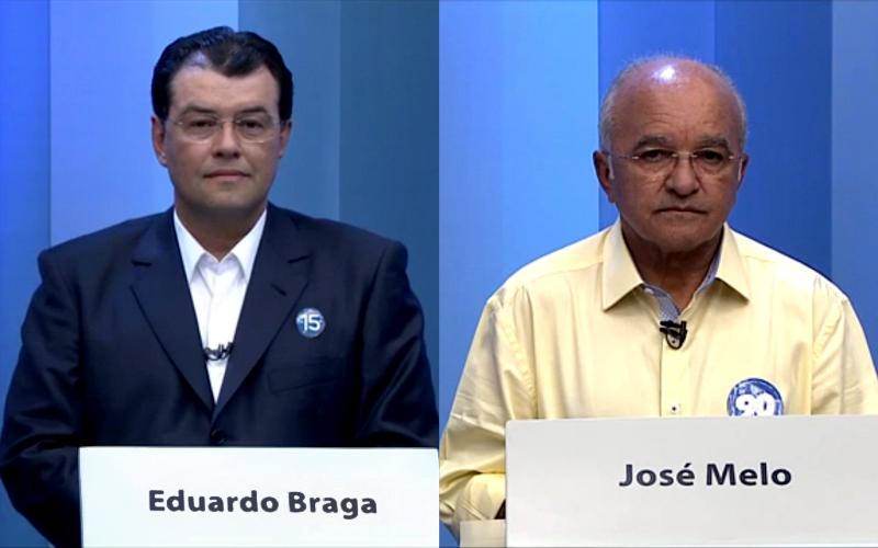 Eduardo Braga e José Melo no debate da TV Amazonas no primeiro turno das eleições (Foto: Reprodução/TV Amazonas)