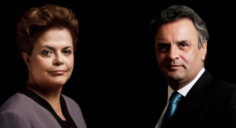 Dilma Rousseff aparece numericamente à frente de Aécio Neves, mas empatada tecnicamente dentro da margem de erro (Fotos: Reprodução)