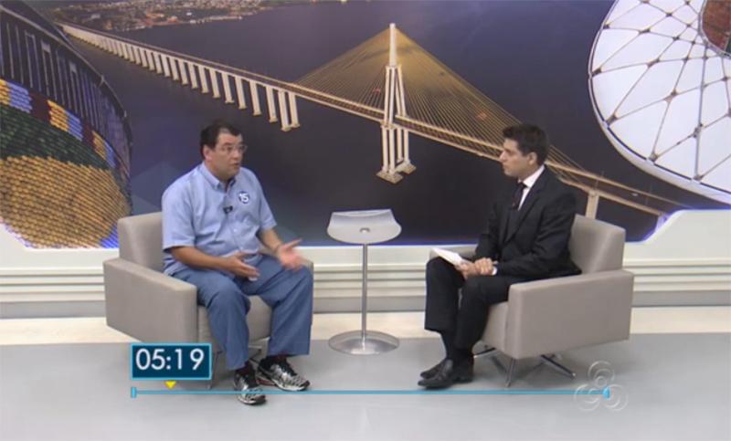 Entrevista de Eduardo Braga ao Jornal do Amazonas: tema do ICMS foi o primeiro abordado no programa (Foto: Reprodução/TV Amazonas)