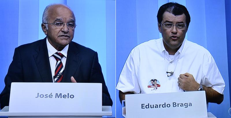 José Melo e Eduardo Braga: troca de acusações sobre corrupção no único debate do segundo turno (Foto: Reprodução)