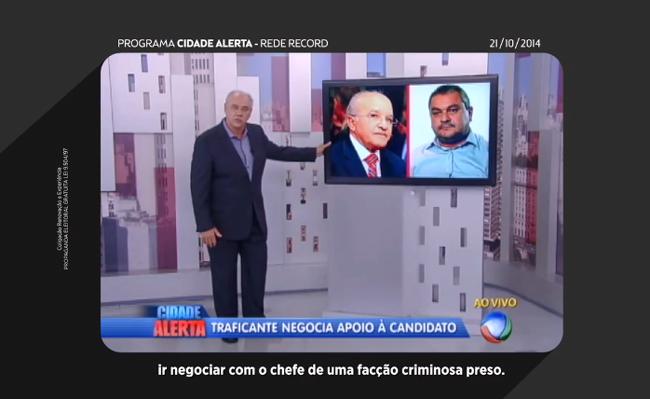 O programa eleitoral de Braga exibiu nesta quarta-feira o programa Cidade Alerta, da Record, de terça-feira, sobre o caso mostrado na Revista Veja (Foto: Reprodução)