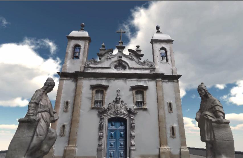 Reprodução do vídeo de navegação pelas obras de Aleijadinho na Igreja de