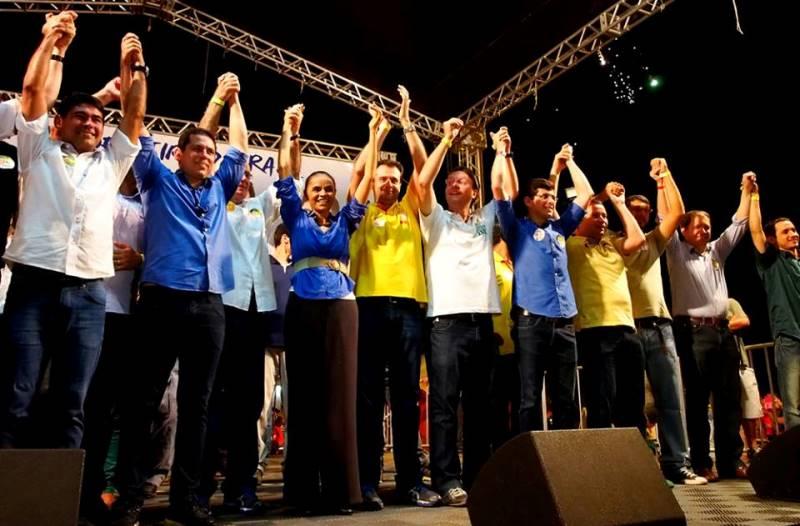 Um dos raros momentos em que a liderança do PSB participou da campanha de Marcelo Ramos, motivada pela presença de Marina Silva (Foto: Divulgação)