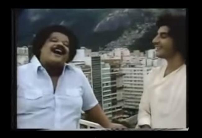 """Tim Maia e Fabio em clip da canção """"Até parece que foi sonho"""", na TV Tupi (Foto: Reprodução)"""