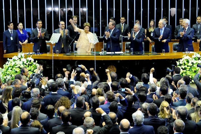 A presidente Dilma Rousseff no Congresso Nacional, na cerimônia de posse do segundo mandato, em 1º de janeiro (Foto: Waldemir Barreto/Agência Senado)