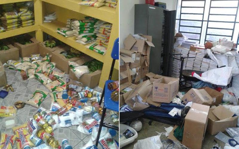 Ladrões arrombaram as portas e reviraram a dispensa onde fica o alimento para a merenda escolar e material de escritório (Foto: Sinteam/Divulgação)