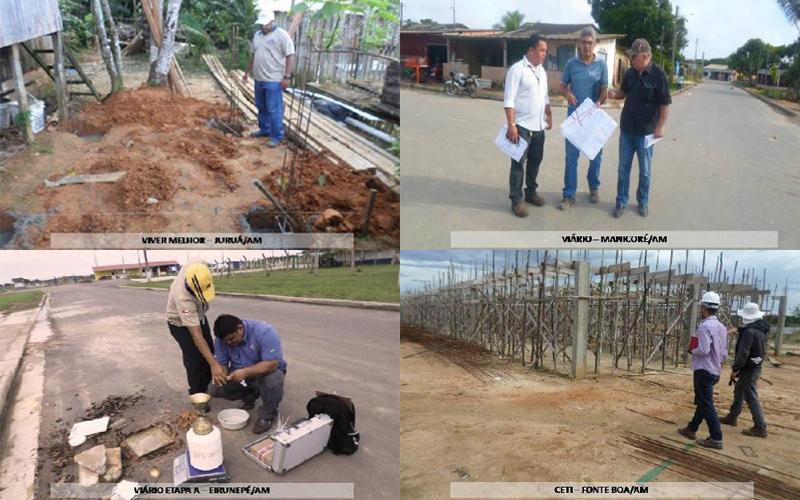 Fiscalização de obras no interior do Estado: empresa contratada por R$ 133,5 milhões para serviço antes realizado por fiscais da Seinfra (Fotos: Sicop-AM)