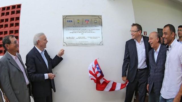 O ex-presidente da CBF José Maria Marin e o ex-secretário-geral da Fifa, Jerome Valcke (Foto: Ricardo Stuckert /CBF)
