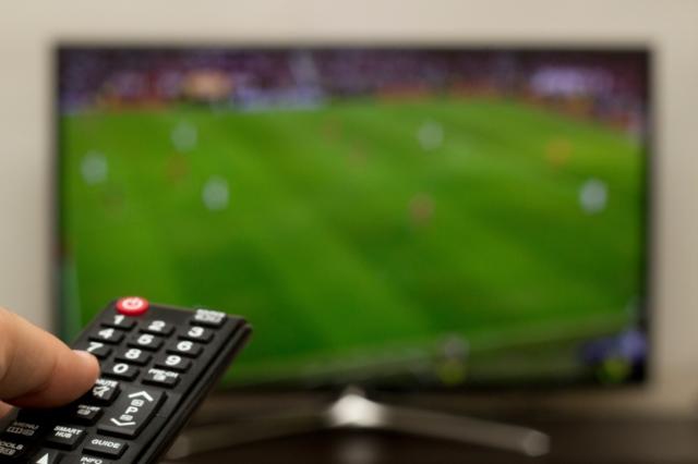 watching football on a smart tv
