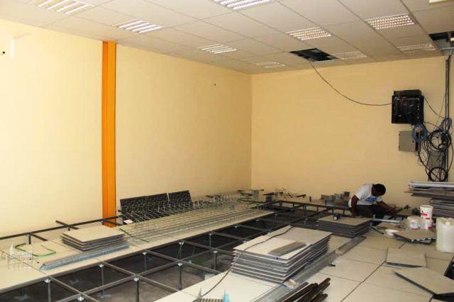 Sala do Datacenter da Semef está sendo preparada para receber o sistema de ar-condicionado (Foto: Divulgação)