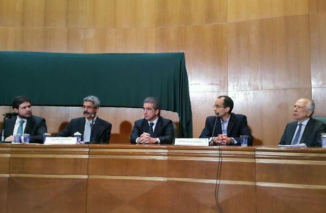 A Comissão Parlamentar de Inquérito da Petrobras (CPI) da Petrobras ouve depoimentos de executivos da Odebrecht, no Foro da Seção Judiciária do Paraná, em Curitiba (Luiz Medeiros/Divulgação Câmara dos Deputados)