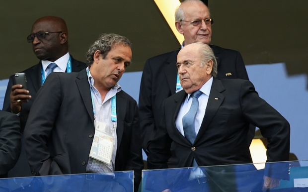 Germany v Portugal: Group G - 2014 FIFA World Cup Brazil...SALVADOR, BRAZIL - JUNE 16: UEFA President Michel Platini and FIFA President Joseph S. Blatter attend the 2014 FIFA World Cup Brazil Group G match between Germany and Portugal at Arena Fonte Nova on June 16, 2014 in Salvador, Brazil. (Photo by Jean Catuffe/Getty Images)