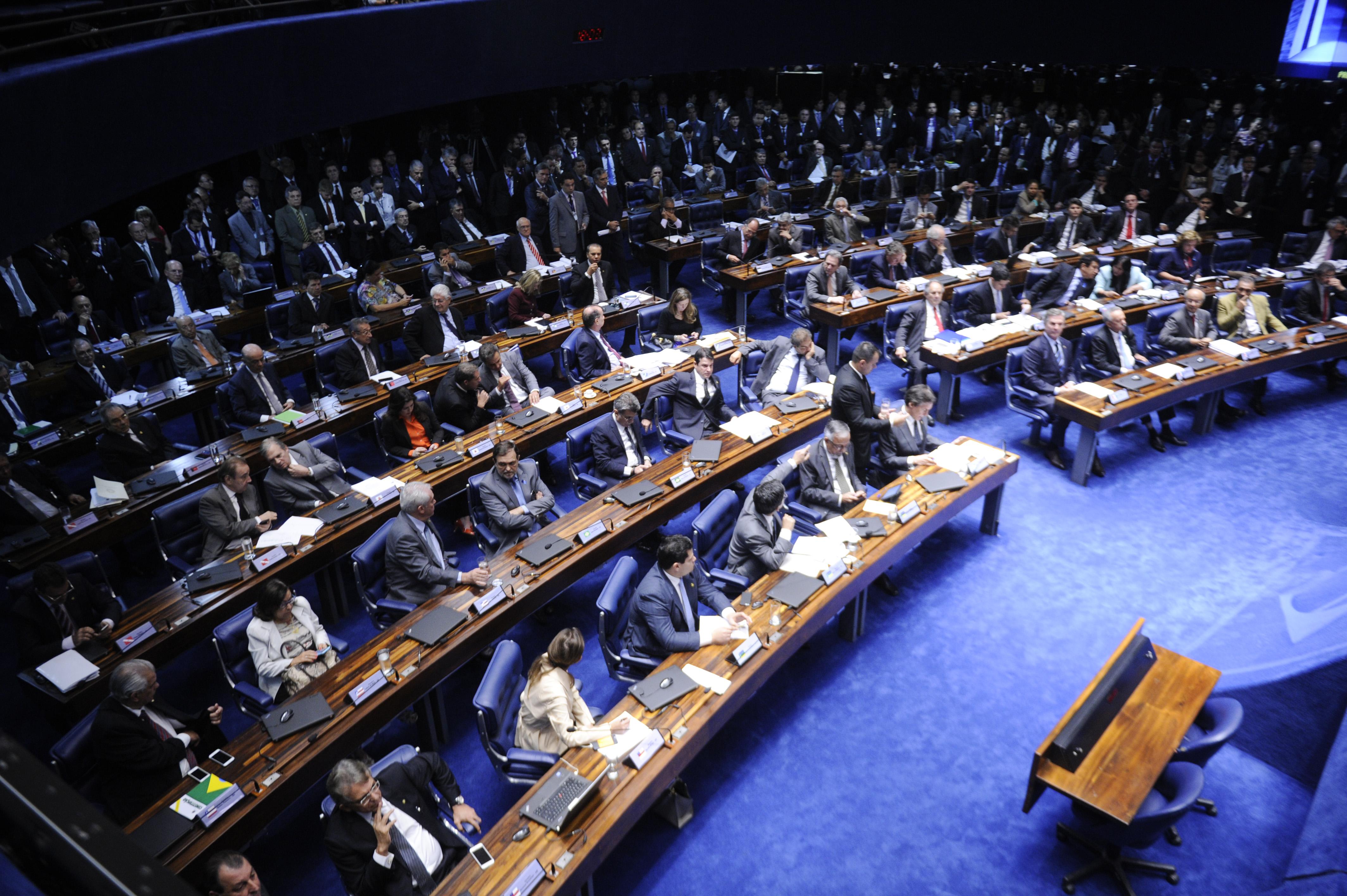 Plenário do Senado durante sessão deliberativa extraordinária destinada à votação sobre a prisão do senador Delcídio do Amaral (PT-MS).   Foto:  Jefferson Rudy/Agência Senado