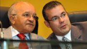 José Melo e o presidente da ALE, Josué Neto: solidariedade ao governador cassado (Foto: Divulgação)
