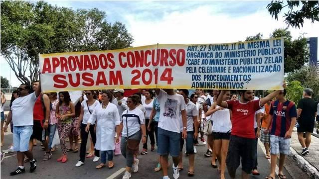Concursados da Susam lutam desde o ano passado pela nomeação dos aprovados em 2014 (Foto: Divulgação)