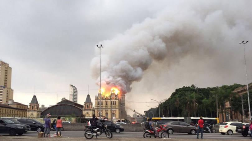 incendio museu da lingua portuguesa foto reprodução Twitter