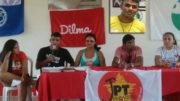 Hinaldo Conceição, de camisa preta e no detalhe, jogou as notas falsas no governador (Fotos: Divulgação)
