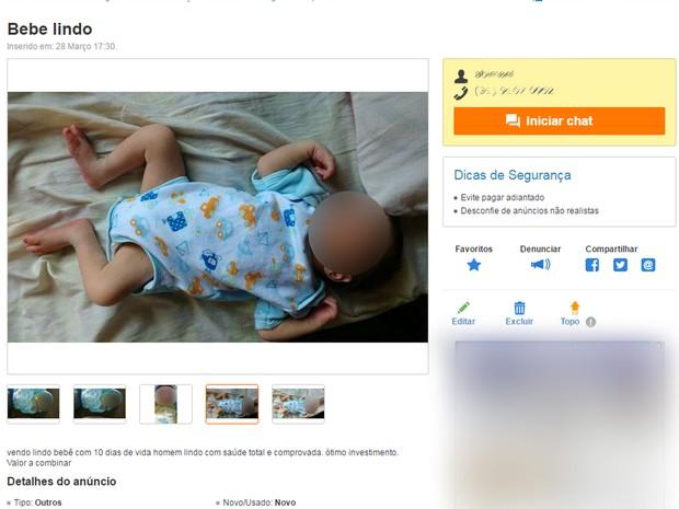 Anuncio venda de bebê Foto Reprodução OLX