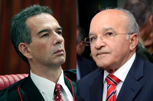 O ex-ministro Marcelo Ribeiro faz defesa oral do governador José Melo (Fotos: Carlos Humberto/TSE e Divulgação/Secom)