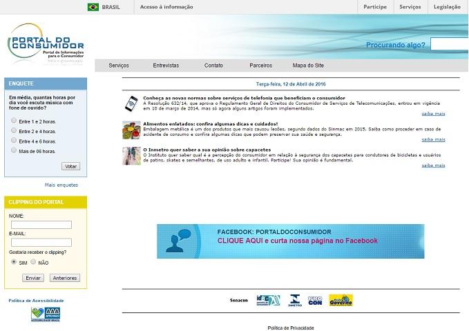 Portal do consumidor do ministério da justiça Foto Captura de tela