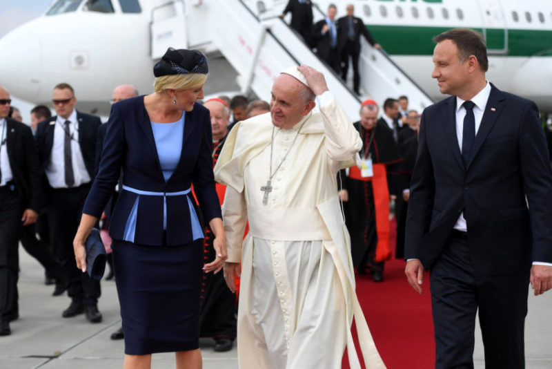 Cracow Poland- 27/07 / 2016- The Pope Francis is approved by authorities, duarnte its landing at the airport in Krakow, where he will attend the World Youth Day 2016. Photo: Mazur/catholicnews.org.uk