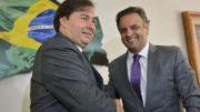 Brasília - O presidente eleito da Câmara dos Deputados, Rodrigo Maia se reúne com o senador Aécio Neves (Antonio Cruz/Agência Brasil)