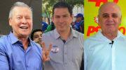 O prefeito Arthur Neto lidera a corrida eleitoral, seguido por Marcelo Ramos e Serafim Corrêa (Fotos: Divulgação)
