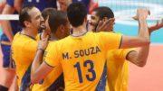 Jogadores do Brasil festejaram a vitória, que garantiu vaga na decisão contra a Itália (Foto: Inovafoto/CBV)