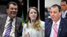 Os senadores Eduardo Braga e Omar Aziz votam contra Dilma; Vanessa, a favor (Fotos: Agência Senado)