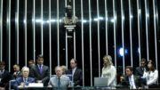 Ricardo Lewandowski presidiu a sessão, ao lado do presidente do Senado, Renan Calheiros (Foto: Geraldo Magela/Agência Senado)
