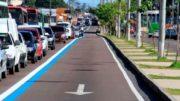 Faixa azul foi implantada na sexta-feira e deixa de ser exclusiva para ônibus nesta segunda (Foto: Divulgação)