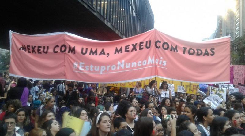 Protesto de mulheres contra a violência, em São Paulo. Combate ao estupro (Foto: Divulgação)