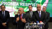 Clima cordial entre a equipe do governo federal e a do governador Melo só na frente da imprensa (Foto: Valmir Lima)
