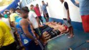 Corpos de detentos mortos durante a rebelião iniciada na tarde de domingo, 1° de janeiro (Foto: Reprodução)
