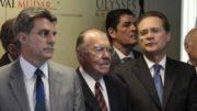 Jucá, Sarnei e Renan (Foto: PMDB/Divulgação)