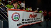 Servidores do Estado ocuparam a galeria da ALE com faixas e cartazes contra a proposta do governo (Foto: Valmir Lima)