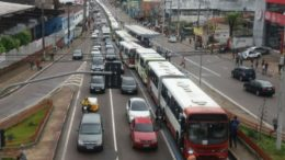 Greve geral ônibus Centro (Foto: PM/Divulgação)