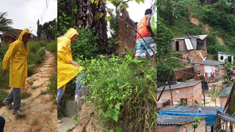 Marcos Rotta foi ao bairro João Paulo II onde uma casa desabou com a chuva da madrugada (Fotos: Divulgação)