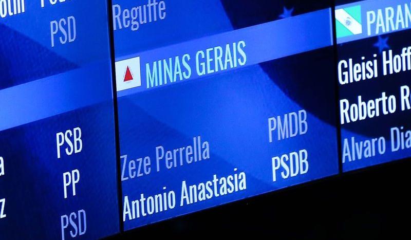 Nome de Aécio é retirado do painel de votação do Senado (Foto: Marcelo Camargo/ABr)