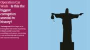 'Lava Jato: Este é o maior escândalo de corrupção da história?', diz o título ao lado do Cristo segurando uma arma e um saco com dinheiro (Foto: Internet/Reprodução)