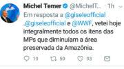 Em mensagem de rede social, Michel Temer divulgou decisão de vetar as MPs (Foto: Twitter/Reprodução)
