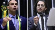 Eduardo Bolsonaro cuspiu em Jean Wyllys durante sessão na Câmara (Foto: Luis Macedo/Nilson Bastian/Câmara dos Deputados)