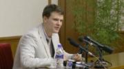 Em fevereiro de 2016, Otto Warmbier pediu desculpas na TV estatal norte-coreana (Foto: Youtube/Reprodução)