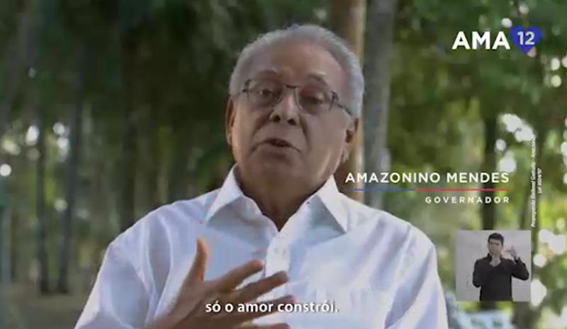 Marketeiros fazem trocadilho com o prefixo 'ama' em referência ao Amazonas e ao candidato Amazonino (Foto: Reprodução/TV)