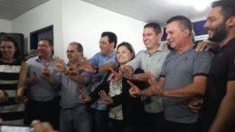 Os deputados Ricardo Nicolau, Sabá Reis e Platiny Soares declararam apoio a Eduardo Braga (Foto: ATUAL)