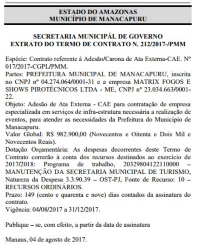 Contrato da refeitura de Manacapuru para realizar eventos no município por quatro meses (Foto: Reprodução/DOM)