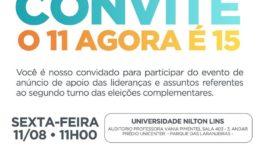 Convite da coligação 'União pelo Amazonas' usa número de Rebecca Garcia para indicar apoio a Braga (Foto: Divulgação)